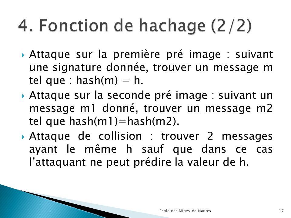 Attaque sur la première pré image : suivant une signature donnée, trouver un message m tel que : hash(m) = h. Attaque sur la seconde pré image : suiva