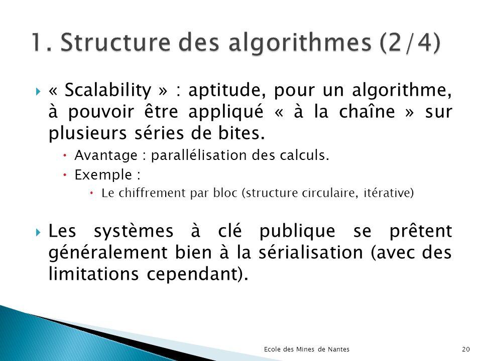 « Scalability » : aptitude, pour un algorithme, à pouvoir être appliqué « à la chaîne » sur plusieurs séries de bites. Avantage : parallélisation des