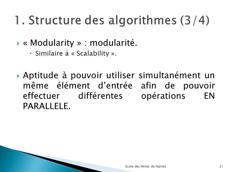 « Modularity » : modularité. Similaire à « Scalability ». Aptitude à pouvoir utiliser simultanément un même élément dentrée afin de pouvoir effectuer