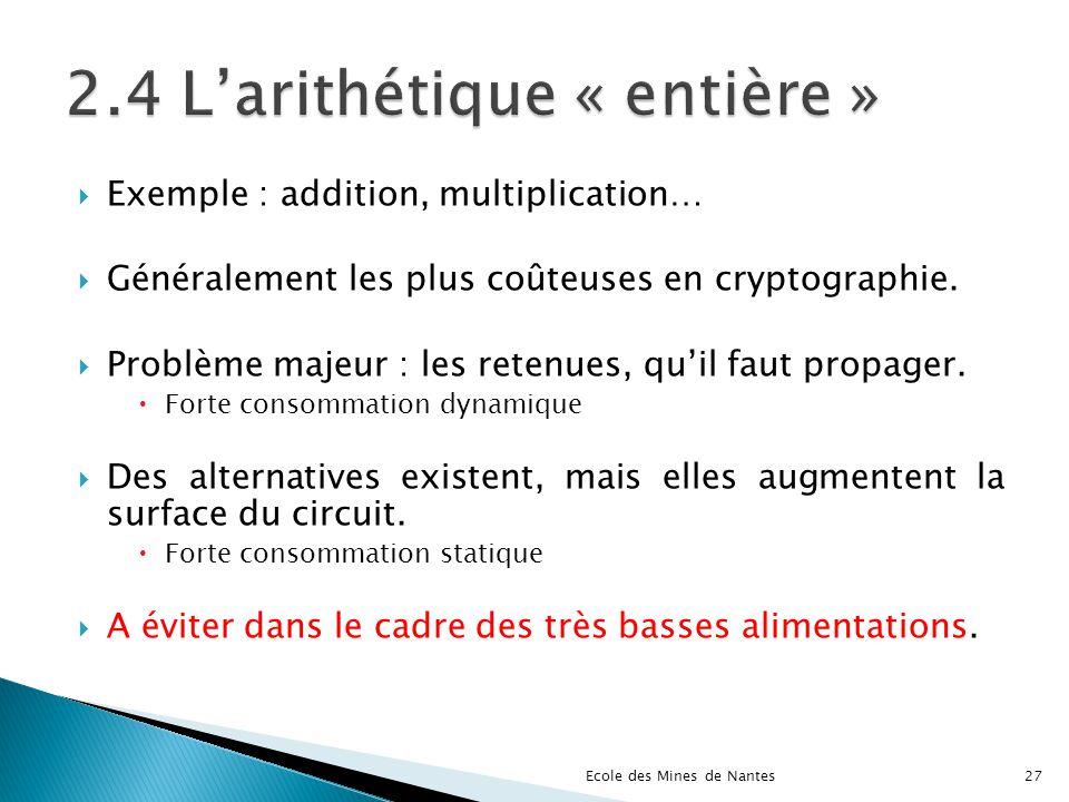 Exemple : addition, multiplication… Généralement les plus coûteuses en cryptographie. Problème majeur : les retenues, quil faut propager. Forte consom