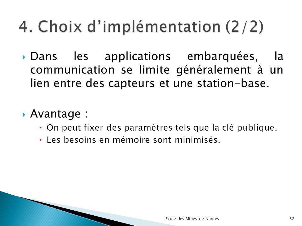 Dans les applications embarquées, la communication se limite généralement à un lien entre des capteurs et une station-base. Avantage : On peut fixer d