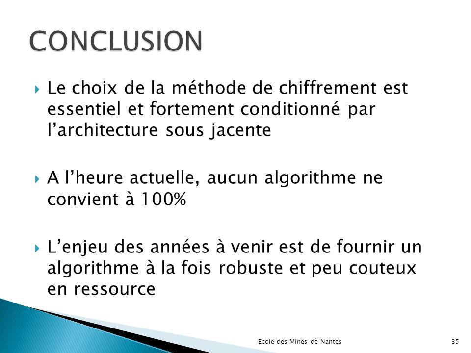 Le choix de la méthode de chiffrement est essentiel et fortement conditionné par larchitecture sous jacente A lheure actuelle, aucun algorithme ne con