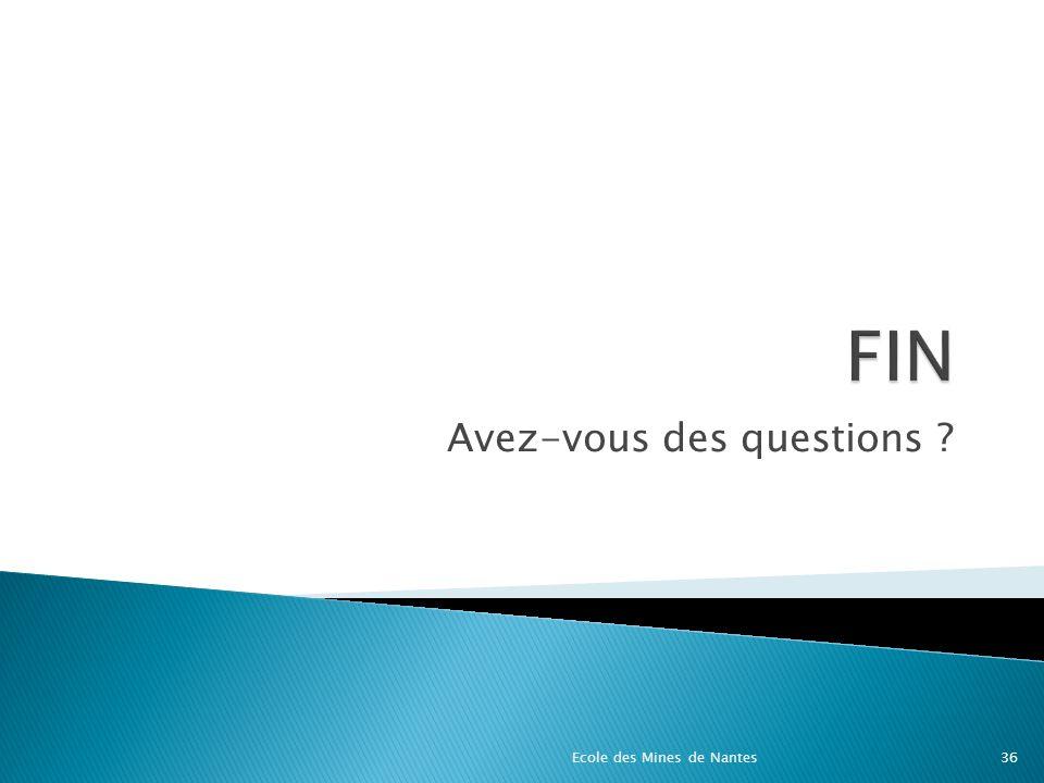 Avez-vous des questions ? Ecole des Mines de Nantes36
