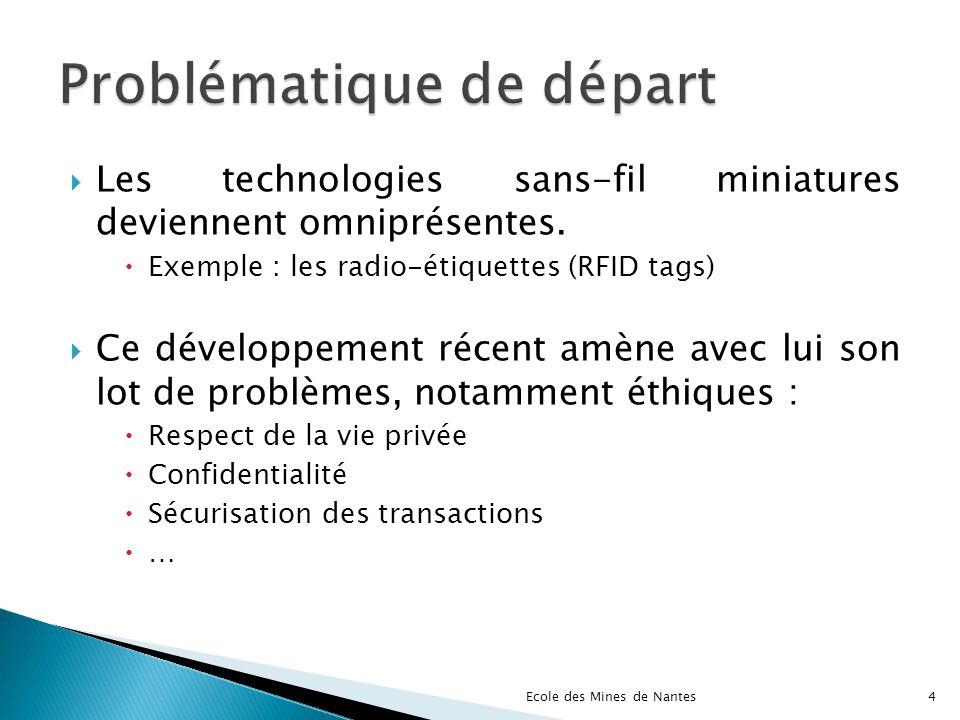 Les technologies sans-fil miniatures deviennent omniprésentes. Exemple : les radio-étiquettes (RFID tags) Ce développement récent amène avec lui son l