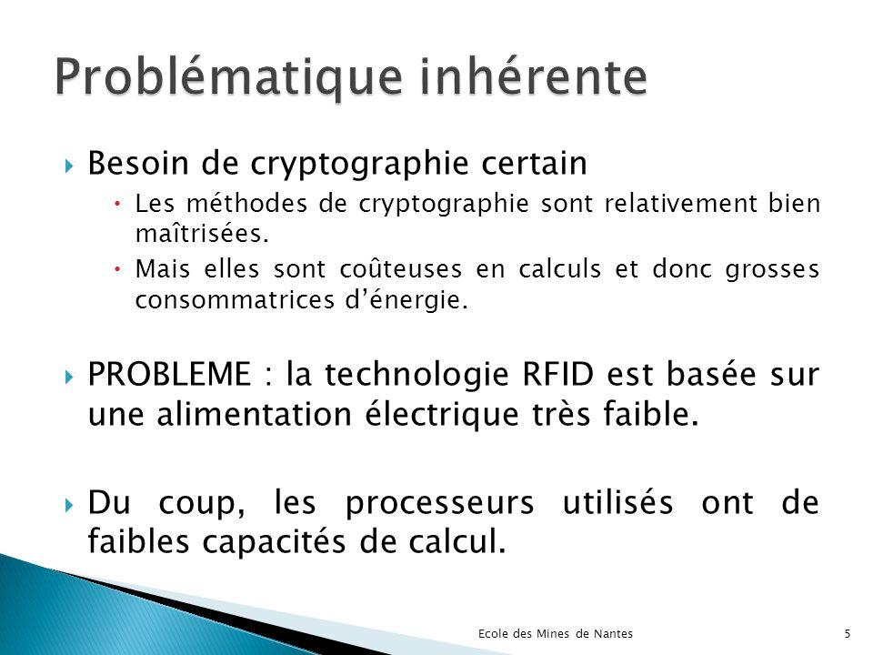 Respecter les fortes contraintes de sécurité en utilisant des algorithmes de cryptographie « légers », implantables sur les « RFID tags ».