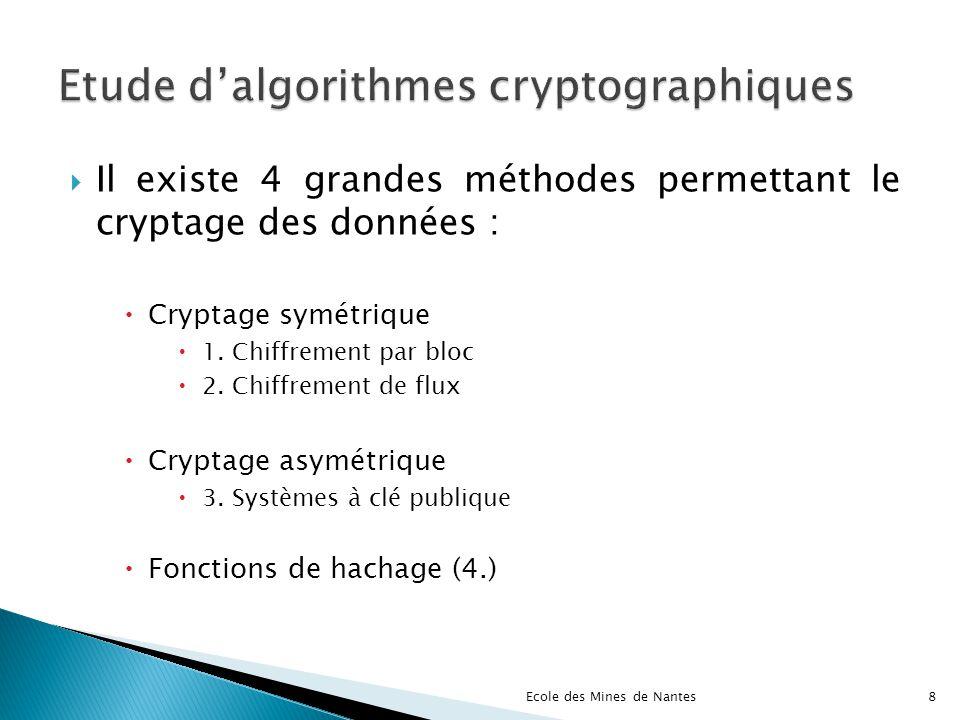 Il existe 4 grandes méthodes permettant le cryptage des données : Cryptage symétrique 1. Chiffrement par bloc 2. Chiffrement de flux Cryptage asymétri