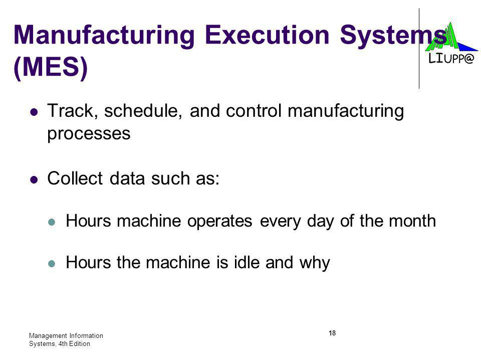 Management Information Systems, 4th Edition 18 Track, schedule, and control manufacturing processes Collect data such as: Hours machine operates every