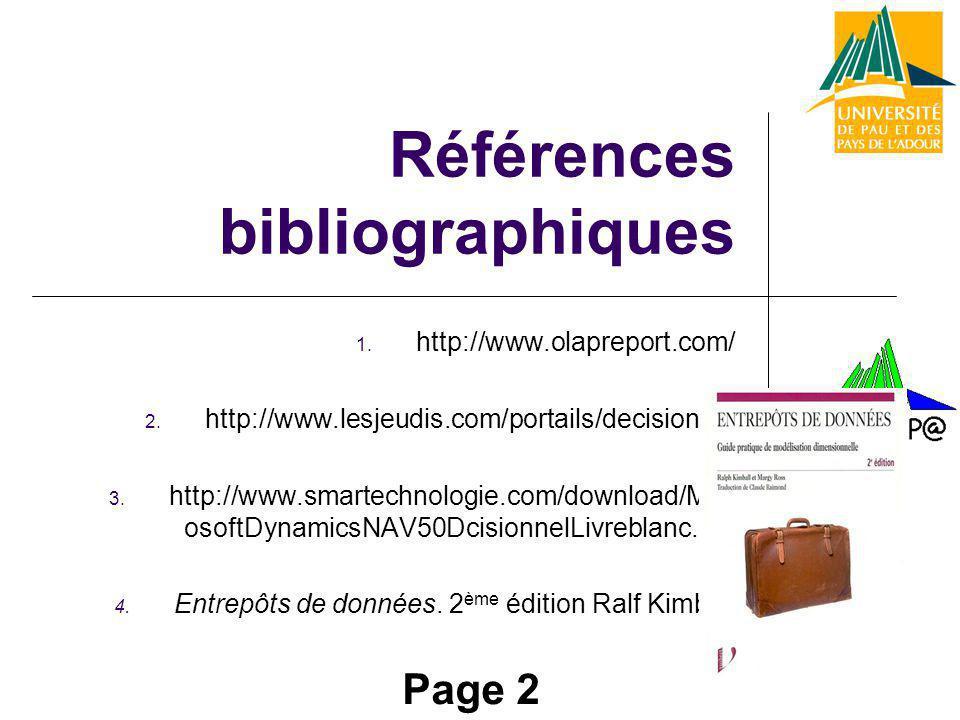 Références bibliographiques 1. http://www.olapreport.com/ 2. http://www.lesjeudis.com/portails/decisionnel 3. http://www.smartechnologie.com/download/