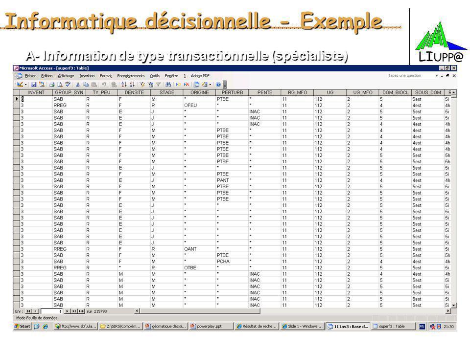 Informatique décisionnelle - Exemple A- Information de type transactionnelle (spécialiste)