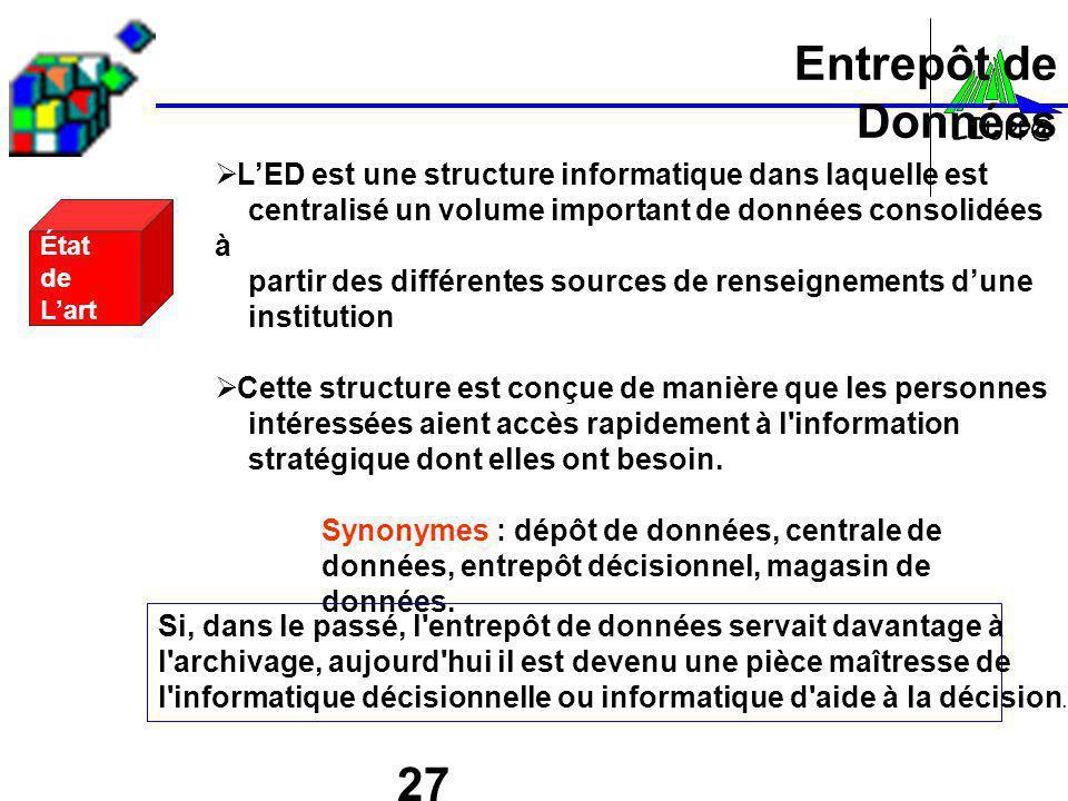 27 Entrepôt de Données État de Lart LED est une structure informatique dans laquelle est centralisé un volume important de données consolidées à parti