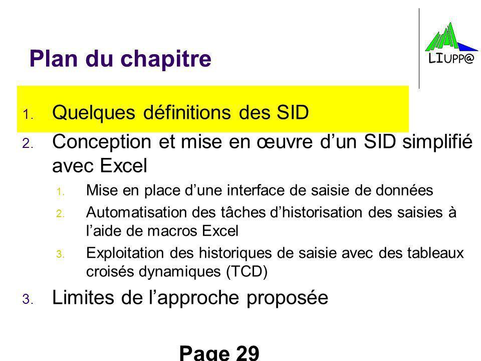 Page 29 Plan du chapitre 1. Quelques définitions des SID 2. Conception et mise en œuvre dun SID simplifié avec Excel 1. Mise en place dune interface d