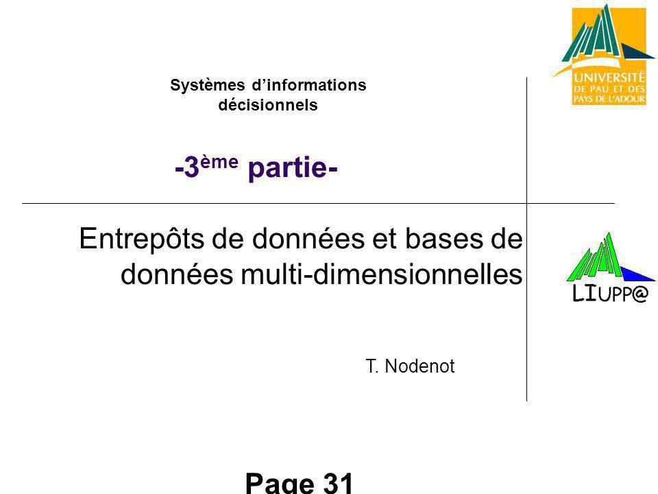 Page 31 Entrepôts de données et bases de données multi-dimensionnelles -3 ème partie- Systèmes dinformations décisionnels T.