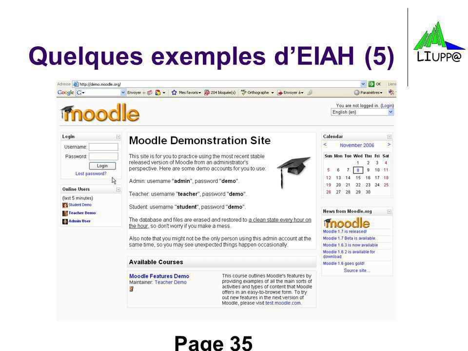 Page 35 Quelques exemples dEIAH (5)