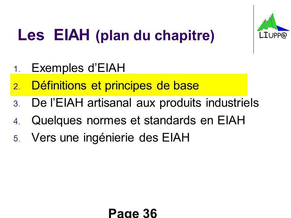 Page 36 Les EIAH (plan du chapitre) 1. Exemples dEIAH 2. Définitions et principes de base 3. De lEIAH artisanal aux produits industriels 4. Quelques n