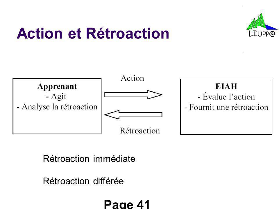 Page 41 Action et Rétroaction Rétroaction immédiate Rétroaction différée