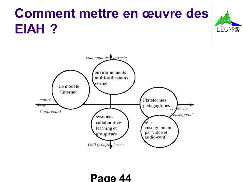 Page 44 Comment mettre en œuvre des EIAH ?