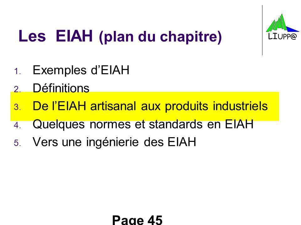 Page 45 Les EIAH (plan du chapitre) 1. Exemples dEIAH 2. Définitions 3. De lEIAH artisanal aux produits industriels 4. Quelques normes et standards en