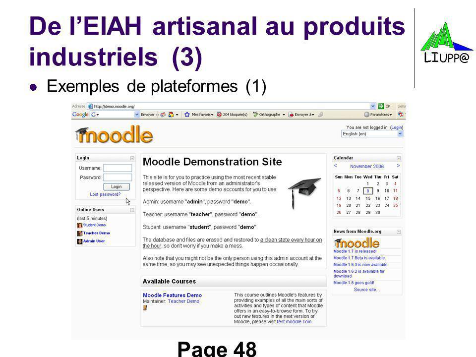Page 48 De lEIAH artisanal au produits industriels(3) Exemples de plateformes (1)