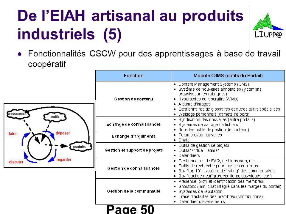 Page 50 De lEIAH artisanal au produits industriels(5) Fonctionnalités CSCW pour des apprentissages à base de travail coopératif