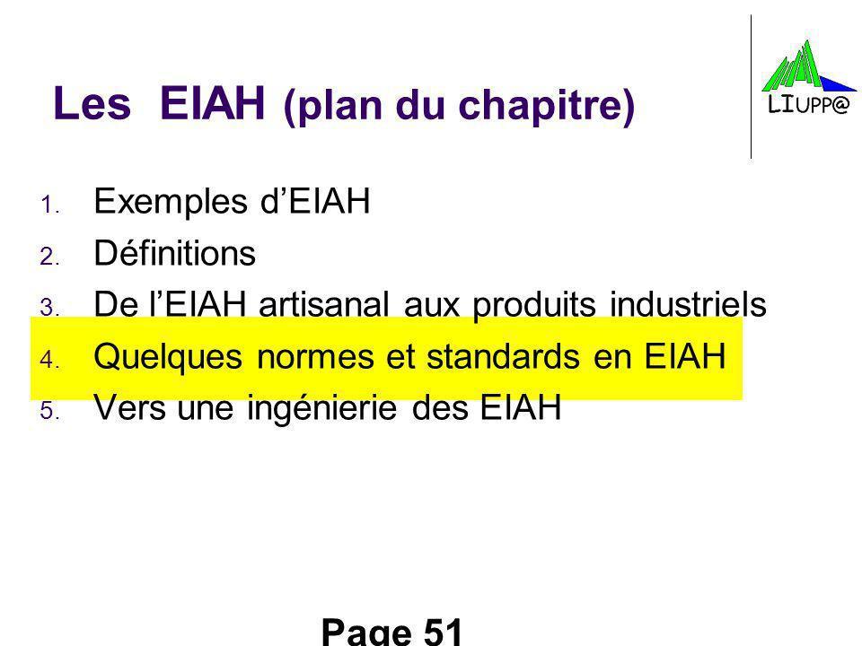 Page 51 Les EIAH (plan du chapitre) 1. Exemples dEIAH 2. Définitions 3. De lEIAH artisanal aux produits industriels 4. Quelques normes et standards en