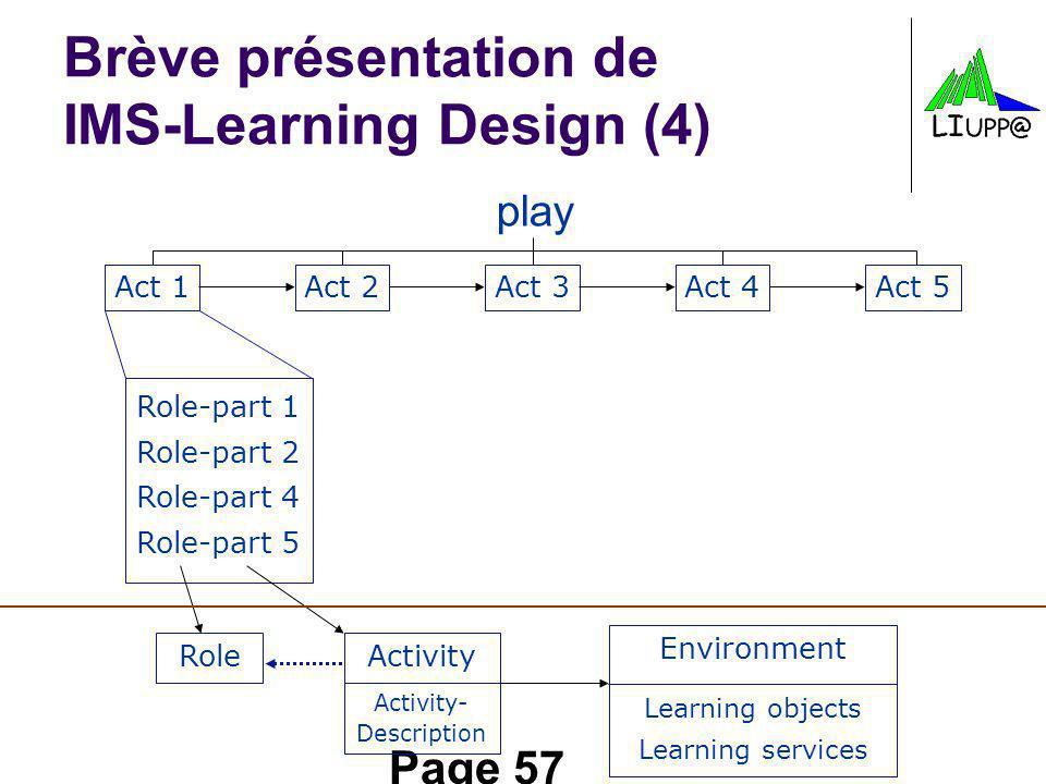 Page 57 Brève présentation de IMS-Learning Design (4) play Act 1Act 2Act 3Act 4Act 5 Role-part 1 Role-part 2 Role-part 4 Role-part 5 Role Activity Environment Learning objects Learning services Activity- Description