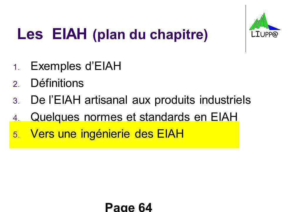 Page 64 Les EIAH (plan du chapitre) 1. Exemples dEIAH 2. Définitions 3. De lEIAH artisanal aux produits industriels 4. Quelques normes et standards en