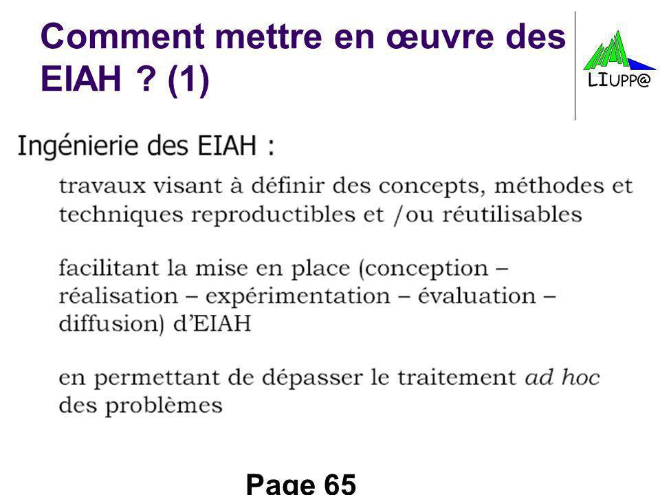 Page 65 Comment mettre en œuvre des EIAH ? (1)