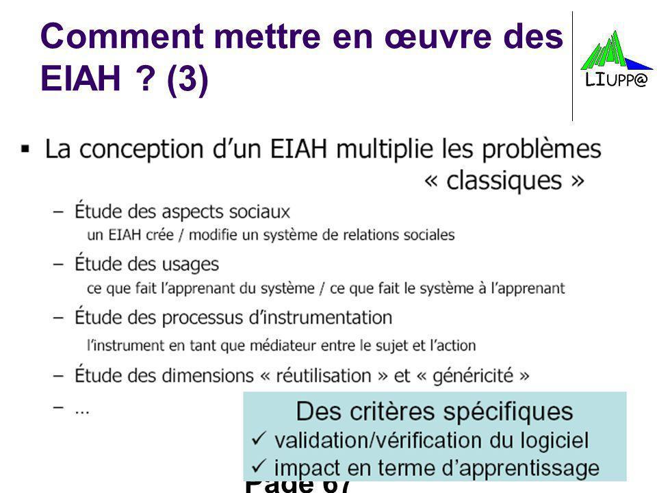 Page 67 Comment mettre en œuvre des EIAH ? (3)