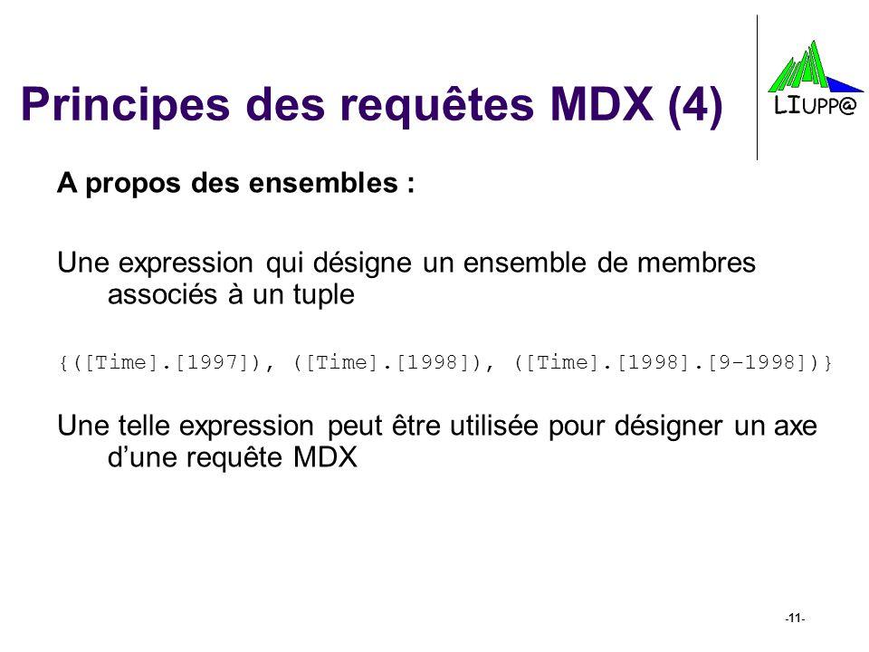 -11- Principes des requêtes MDX (4) A propos des ensembles : Une expression qui désigne un ensemble de membres associés à un tuple {([Time].[1997]), (