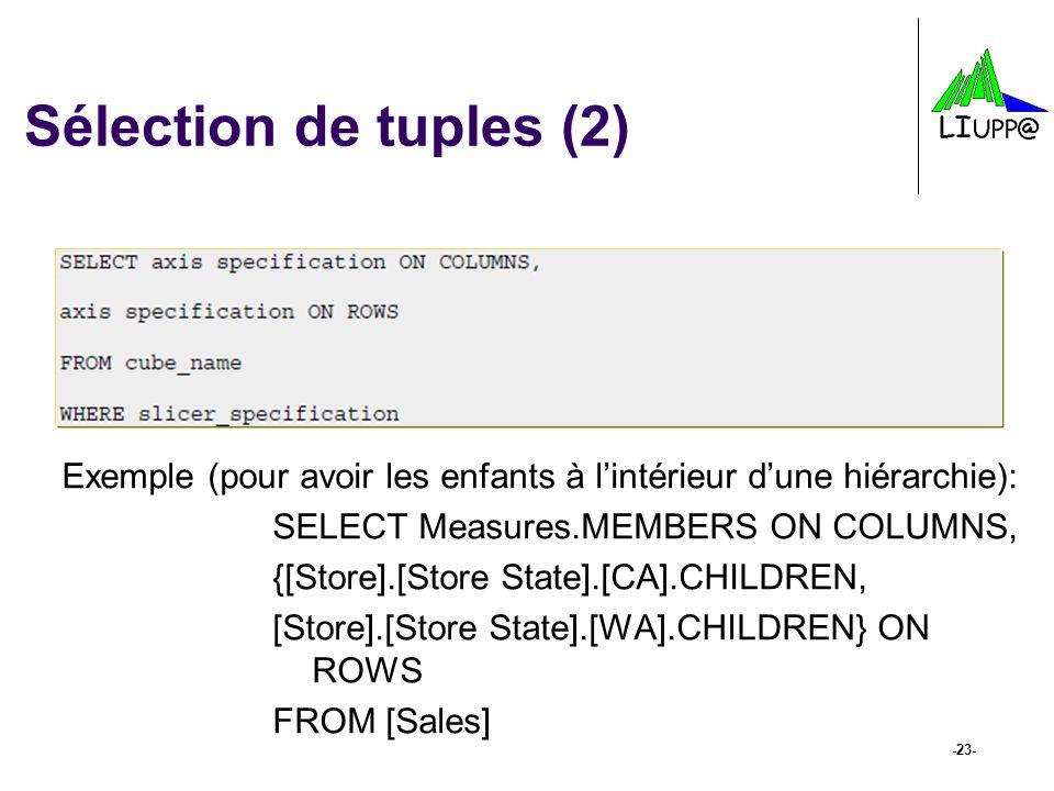 -23- Sélection de tuples (2) Exemple (pour avoir les enfants à lintérieur dune hiérarchie): SELECT Measures.MEMBERS ON COLUMNS, {[Store].[Store State]