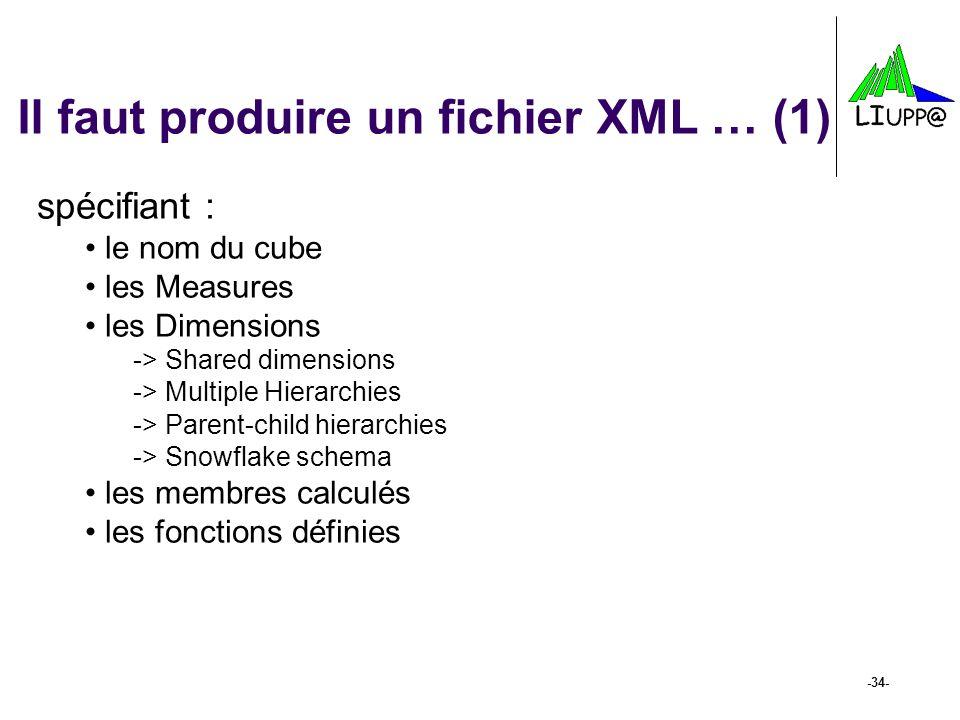-34- Il faut produire un fichier XML … (1) spécifiant : le nom du cube les Measures les Dimensions -> Shared dimensions -> Multiple Hierarchies -> Par