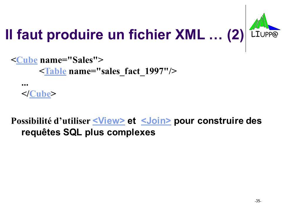 -35- Il faut produire un fichier XML … (2)... CubeTableCube Possibilité dutiliser et pour construire des requêtes SQL plus complexes