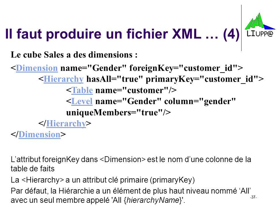 -37- Il faut produire un fichier XML … (4) Le cube Sales a des dimensions : DimensionHierarchyTableLevelHierarchyDimension Lattribut foreignKey dans e