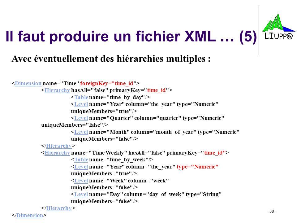 -38- Il faut produire un fichier XML … (5) Avec éventuellement des hiérarchies multiples : DimensionHierarchyTableLevel Hierarchy TableLevel Hierarchy