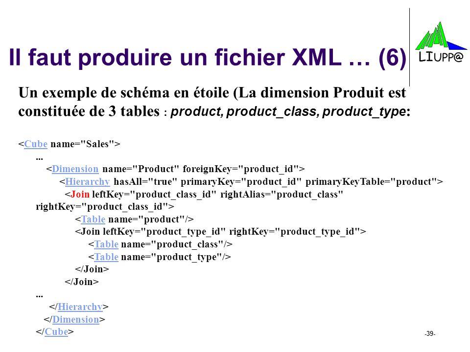 -39- Il faut produire un fichier XML … (6) Un exemple de schéma en étoile (La dimension Produit est constituée de 3 tables : product, product_class, p