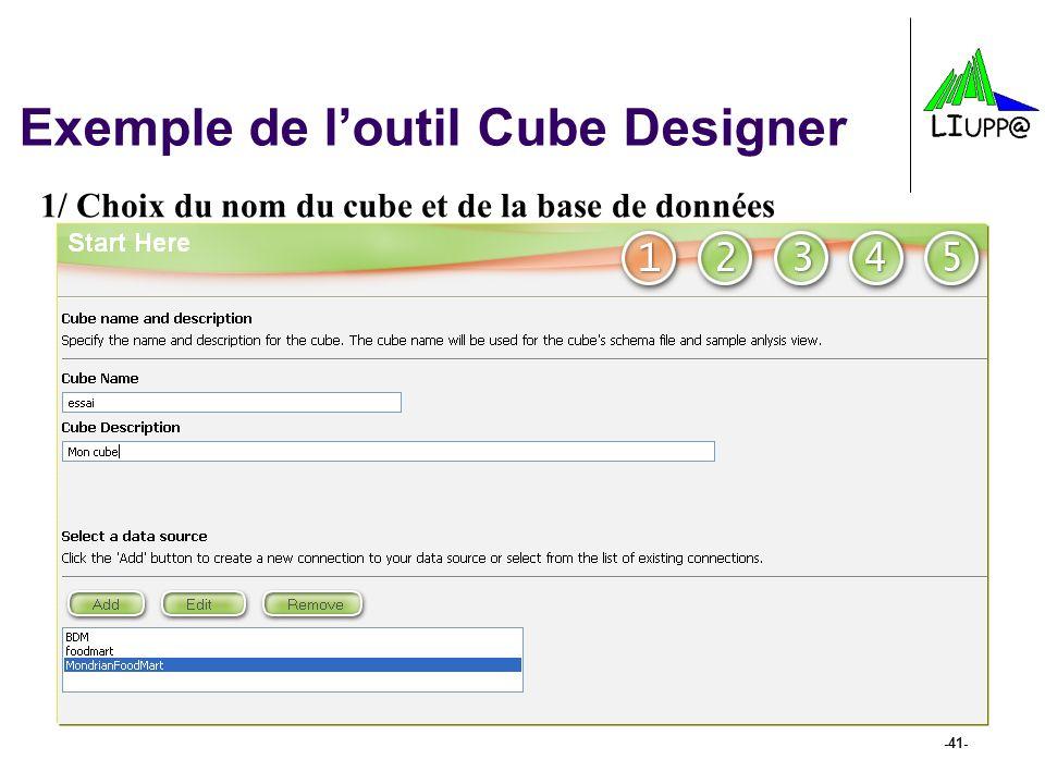 -41- Exemple de loutil Cube Designer 1/ Choix du nom du cube et de la base de données