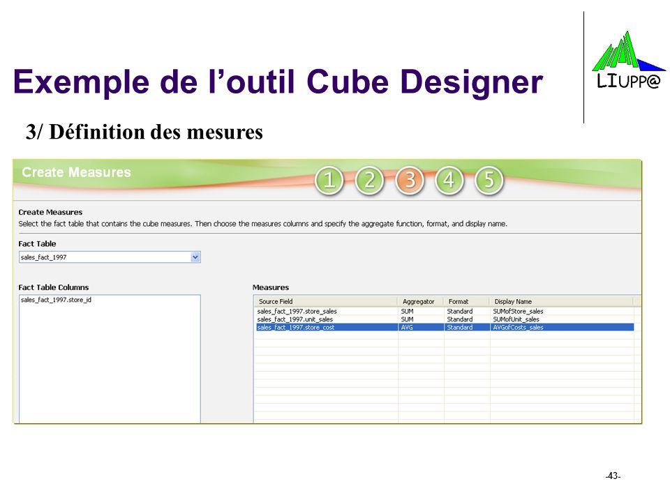 -43- Exemple de loutil Cube Designer 3/ Définition des mesures