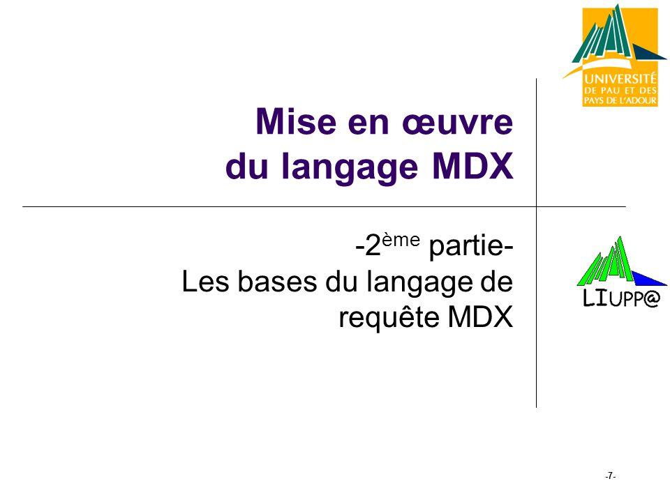 -18- Principes des requêtes MDX (11) Fonctions de calcul SUM ( set, expression ) MAX ( set, expression ) AVG( set, expression ) MIN( set, expression ) AVG([Time].Members, [Measures].[Store Profit])