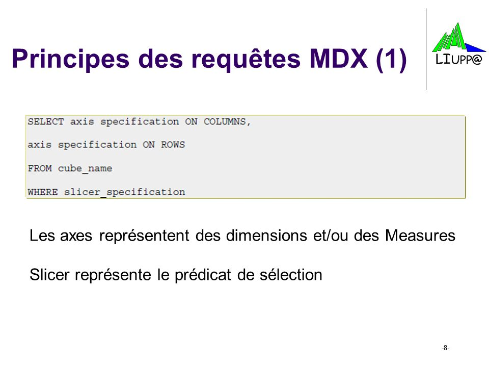 -9- Principes des requêtes MDX (2) Il est possible de faire appel à : - Des ensembles : {} - Des tuples : () -Des noms associés aux éléments dun cube (dimensions, levels, members and properties) : [] ON ROWS et ON COLUMNS permettent dexprimer la configuration daffichage souhaitée