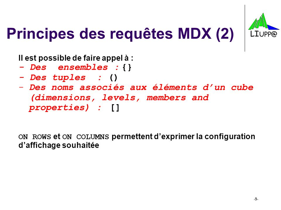 -30- Crossjoin (2) Exemple : SELECT [Product].[Product Family].MEMBERS ON COLUMNS, NON EMPTY {CROSSJOIN([Customers].[City].MEMBERS, [Time].[Quarter].MEMBERS)} ON ROWS FROM [Sales] WHERE (Measures.[Unit Sales])
