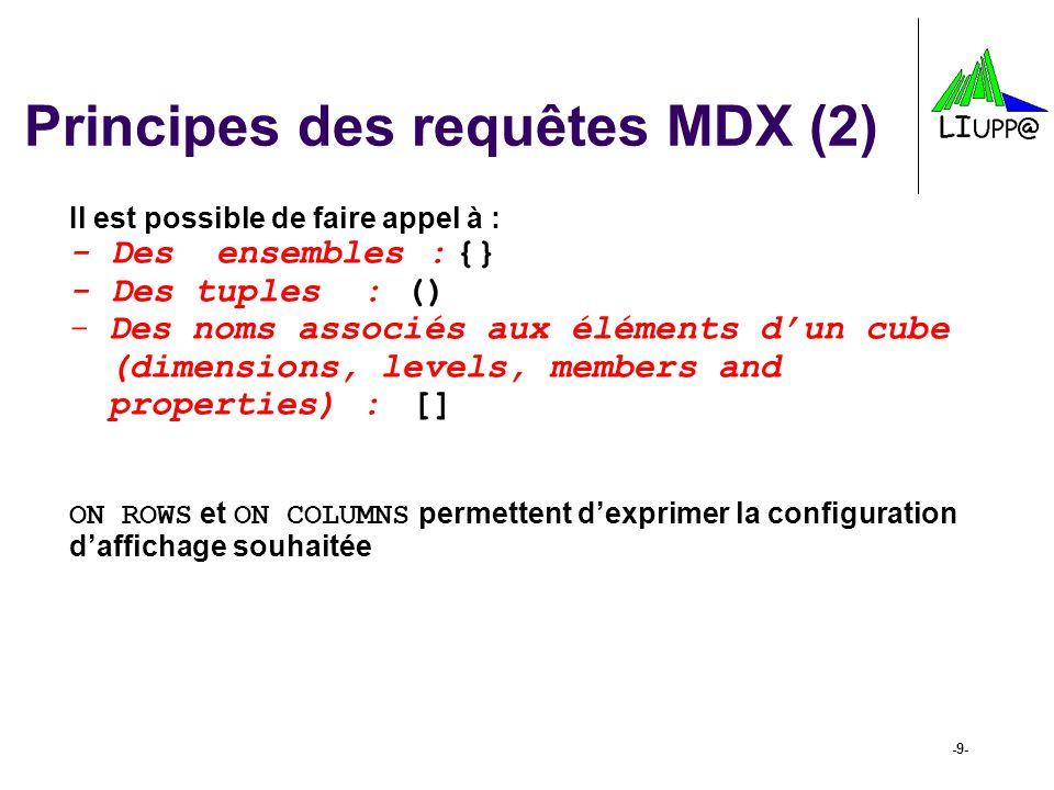 -9- Principes des requêtes MDX (2) Il est possible de faire appel à : - Des ensembles : {} - Des tuples : () -Des noms associés aux éléments dun cube