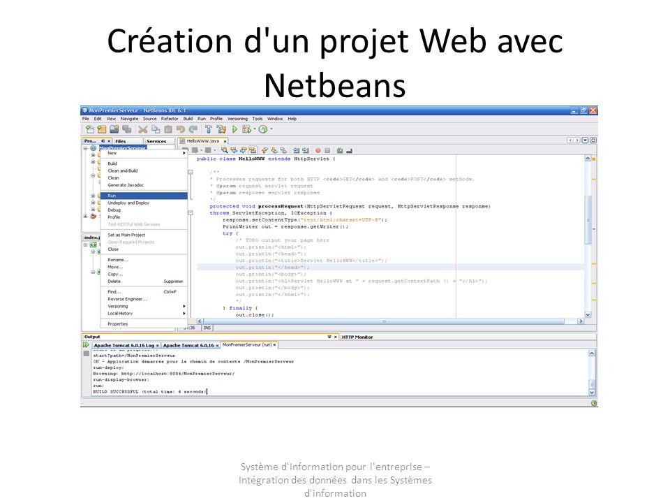 Système d Information pour l entreprise – Intégration des données dans les Systèmes d information Création d un projet Web avec Netbeans