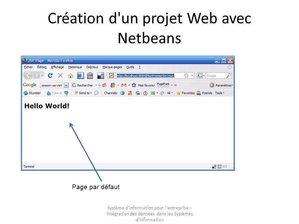 Système d'Information pour l'entreprise – Intégration des données dans les Systèmes d'information Création d'un projet Web avec Netbeans Page par défa