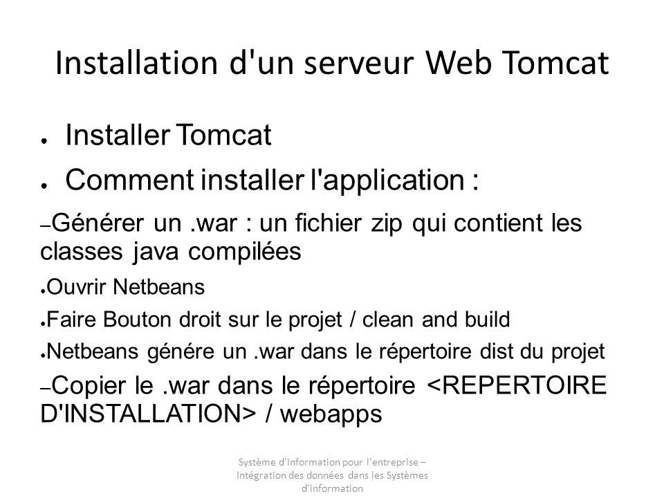 Système d'Information pour l'entreprise – Intégration des données dans les Systèmes d'information Installation d'un serveur Web Tomcat Installer Tomca
