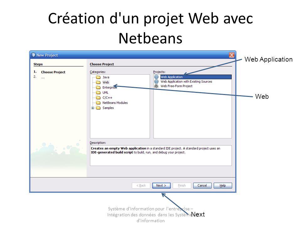 Système d Information pour l entreprise – Intégration des données dans les Systèmes d information Création d un projet Web avec Netbeans Nommer le projet Netbeans propose une localisation des sources par défaut Laisser Set as Main Project Next