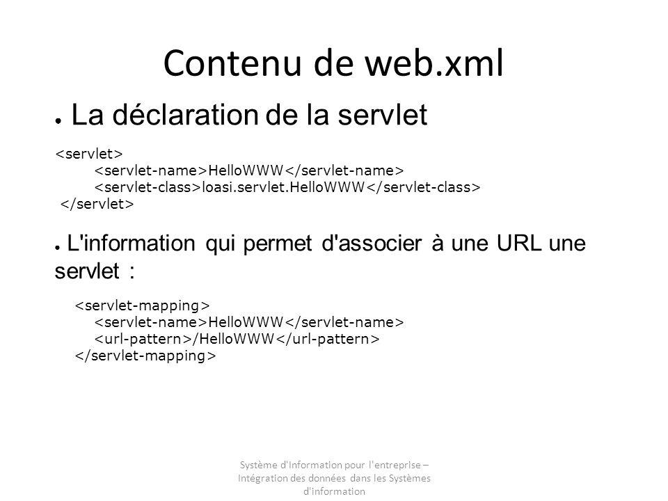 Système d Information pour l entreprise – Intégration des données dans les Systèmes d information Contenu de web.xml La déclaration de la servlet HelloWWW loasi.servlet.HelloWWW L information qui permet d associer à une URL une servlet : HelloWWW /HelloWWW