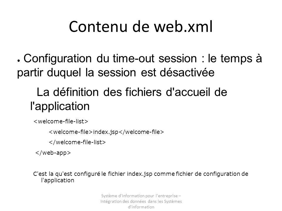 Système d Information pour l entreprise – Intégration des données dans les Systèmes d information Contenu de web.xml Configuration du time-out session : le temps à partir duquel la session est désactivée La définition des fichiers d accueil de l application index.jsp C est la qu est configuré le fichier index.jsp comme fichier de configuration de l application