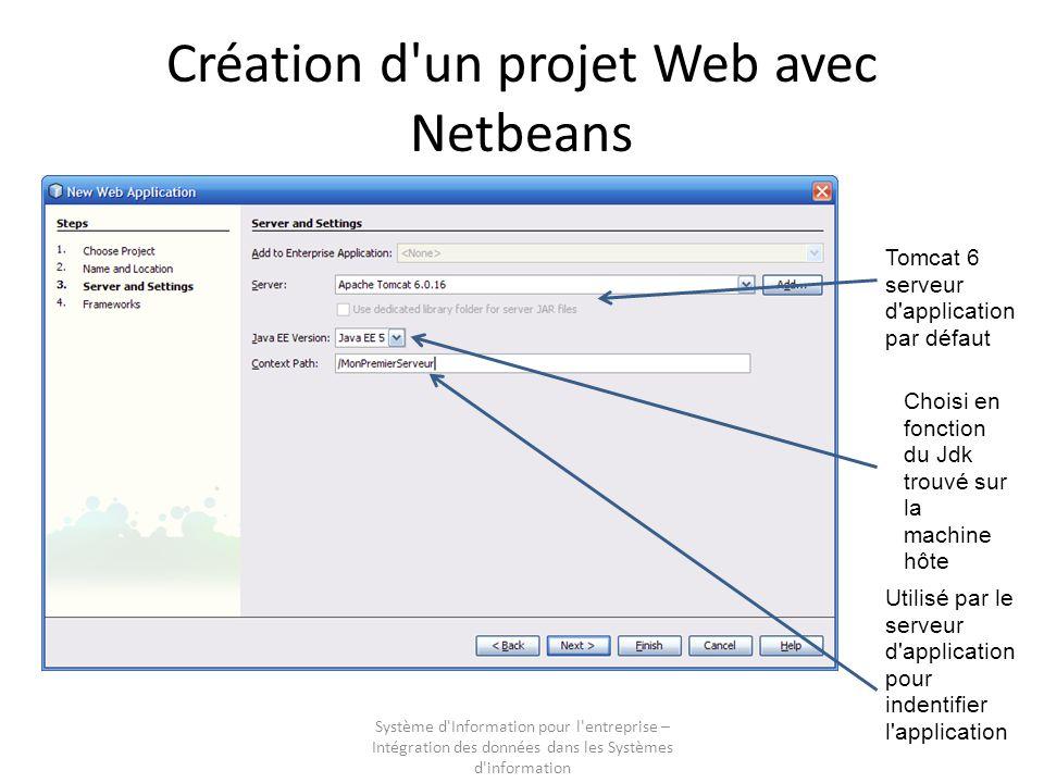 Système d'Information pour l'entreprise – Intégration des données dans les Systèmes d'information Création d'un projet Web avec Netbeans Tomcat 6 serv