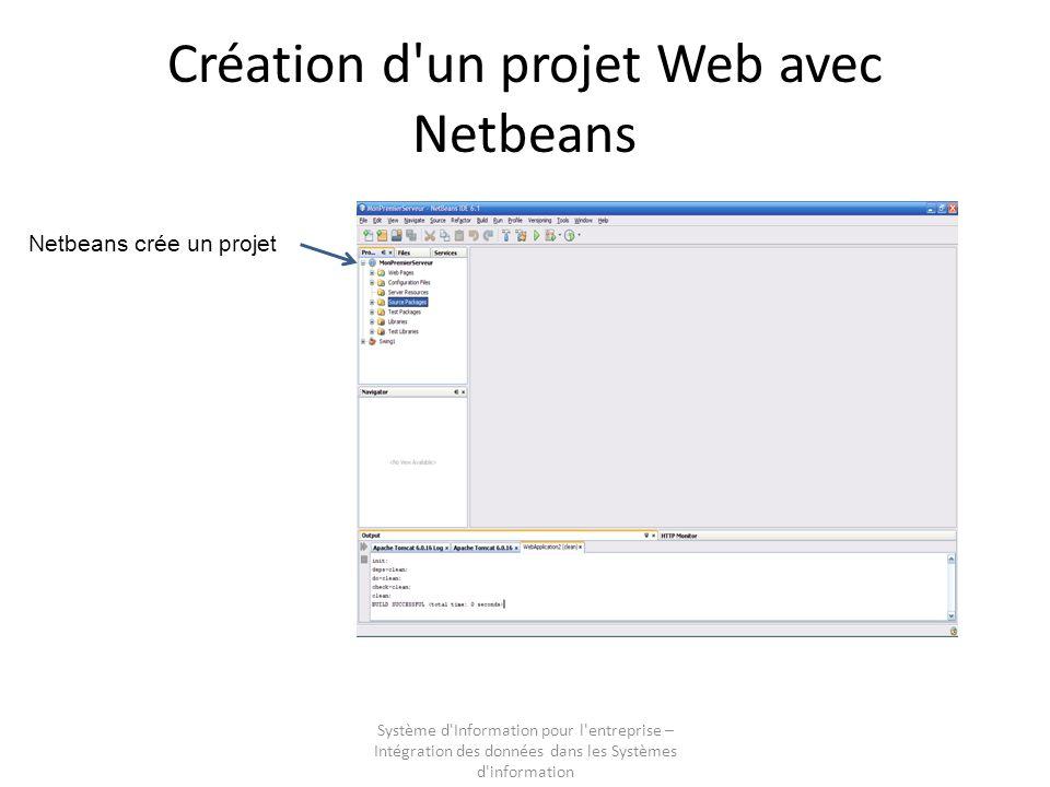 Système d Information pour l entreprise – Intégration des données dans les Systèmes d information Création d un projet Web avec Netbeans Netbeans crée un projet