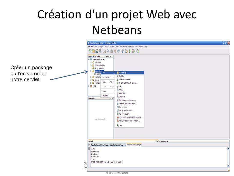 Système d Information pour l entreprise – Intégration des données dans les Systèmes d information Création d un projet Web avec Netbeans Créer un package où l on va créer notre servlet